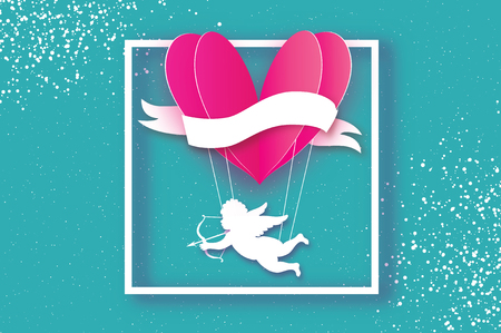 Flying Cupid - little angel. Love Pink Heart in paper cut style. Origami Cherubs. Heart shape hot air balloon flying. Happy Valentine day. Ribbon tape for text. Romantic Holidays. 14 February. Illustration