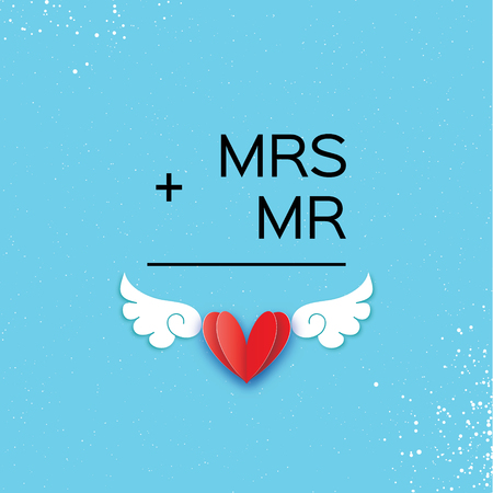Mr and Mrs words, Mister plus Missis equal love on sky blue in Paper cut style with  red heart and angel wings, for wedding invitations design, table decoration, cards, banners. Иллюстрация