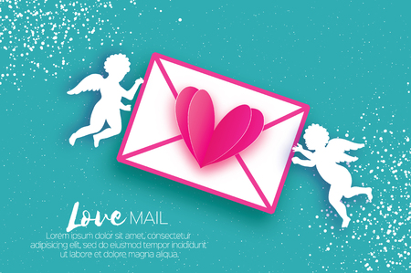 Valentines Day Greeting Card with upids - flying angels. Love mail, pink heart and envelope in paper cut style. Origami Cherubs. Romantic Holidays on blue background.14 February