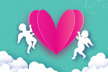 Flying Cupids - amur angels with Love Pink Heart in paper cut style. Origami Cherubs. Happy Valentines day. Romantic Holidays on blue background with cloud. All you need is Love. 14 February. Stock Photo
