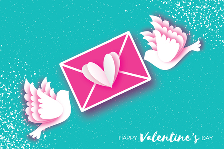 Origami happy Valentines day greeting card. Flying love birds, mail love and envelope in paper cut style. Romantic white pigeons kissing. Be my valentine. 14 February.