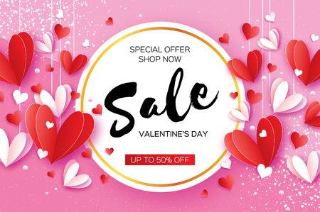 Happy Valentines day. Sale offer. Origami red, white hearts in paper cut style on pink. Circle frame. Text. Shop market poster. Ilustrace