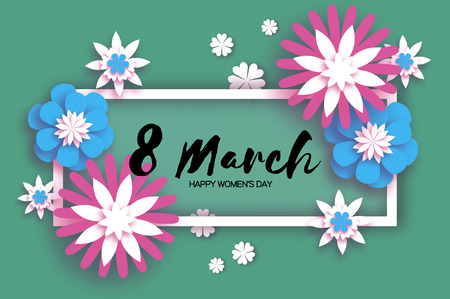 Beautiful 8 March. Origami Happy Womens Day. Floral Greeting Card. Paper cut Pink Blue Flowers. Rectangle gorizontal frame. Text. Spring blossom. Seasonal holiday on dark green. Traditional paper decoration. Vector illustration.