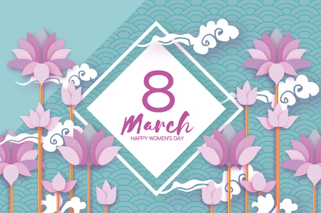 Pink Pastel Lotus Floral Greeting card in paper cut style. 8 March. Happy Women's Mother's Day. Origami Water lily flower holiday on blue sky. Rhombus frame. Cloud. Spring blossom. Seasonal holiday. Vector illustration Ilustração