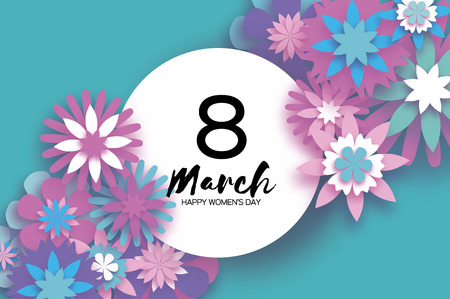 Violet 8 March. Happy Womens Day. Trendy Mothers Day. Paper cut Floral Greeting card. Origami flower. Text. Circle frame. Spring blossom on sky blue. Seasonal holiday. Modern paper decoration. Vector illustration.