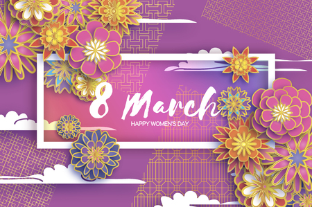 8 March. Gold Purple Happy Womens Day. Mothers Day. Paper cut Floral Greeting card. Origami flower. Text. Rectangle frame. Spring blossom. Seasonal holiday.Modern paper decoration. Vectores