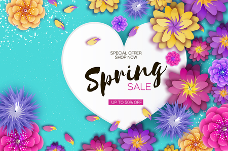 Bright origami spring sale flowers banner. Paper cut exotic tropical floral greetings card. Spring blossom. Love heart frame. Happy Women's Day. 8 March. Text. Seasonal holiday on blue. Trendy decor. Vector illustration. Vettoriali