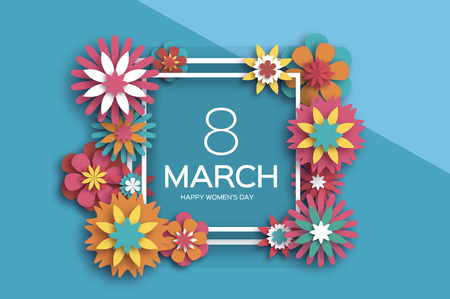 8 March. Colorful Happy Women s Day. Trendy Mother s Day. Paper cut Floral Greeting card. Origami flower. Text. Square ribbon frame. Spring blossom. Seasonal holiday on sky blue. Modern paper decoration. Vector Ilustração
