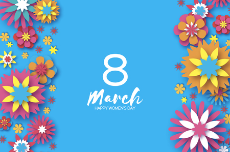 Colorful 8 March. Happy Women's Day. Trendy Mother's Day. Paper cut Floral Greeting card. Origami flower.Space for Text. Spring blossom on sky blue. Seasonal holiday.Modern paper decoration. Vertical.