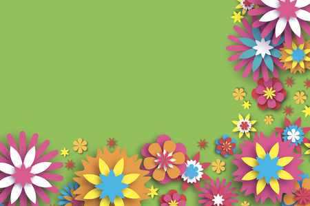 Colorful Floral Card. Paper cut Flowers Border Composition. Origami Daisy Rose flower. Text. Spring Peony blossom. Seasonal holiday on green. Modern paper decoration.