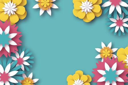 Scherenschnitt Floral Grußkarte. Origami-Blume. Platz für Text. Rechteckrahmen. Frühlingsblüte. Saisonurlaub am Himmel blau. Moderne Papierdekoration.