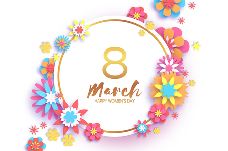 8 March. Colorful Happy Women s Day. Trendy Mother s Day. Paper cut Gold metal Floral Greeting card. Origami flower. Text. Circle frame. Spring blossom. Seasonal holiday. Modern paper decoration.