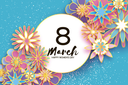8 March. Happy Women s Day. Trendy Mother s Day. Paper cut Floral Greeting card. Origami golden flower. Text. Circle frame. Spring blossom on sky blue. Seasonal holiday. Modern paper decoration. Standard-Bild - 94058240