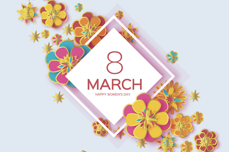 Colorful8 March. Happy Women s Day. Trendy Mother s Day. Paper cut Floral Greeting card. Origami gold flower. Text. Rhombus frame. Spring blossom. Seasonal holiday. Modern paper decoration.
