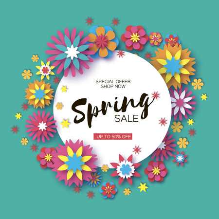 Sale. Origami Spring Colorful Flowers Banner. Paper cut Floral Greetings card. Spring blossom. Circle frame. Happy Women s Day. 8 March. Text. Seasonal holiday on blue. Trendy decor. Vector.