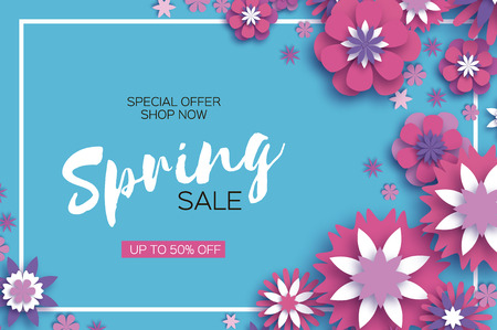 Sale. Origami Spring Pink Flowers Banner. Paper cut Floral Greetings card. Spring blossom. Rectangle frame. Happy Women s Day. 8 March. Text. Seasonal holiday on blue. Trendy decor. Vector.