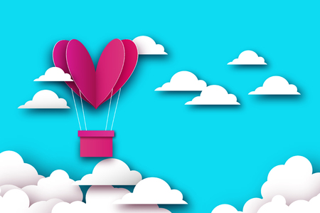 Heart shape Pink hot air balloon flying. Love in paper cut style. Origami Valentine day. Romantic Holidays. 14 February. Be my valentine. Blue sky with origami clouds on sky blue. Vector
