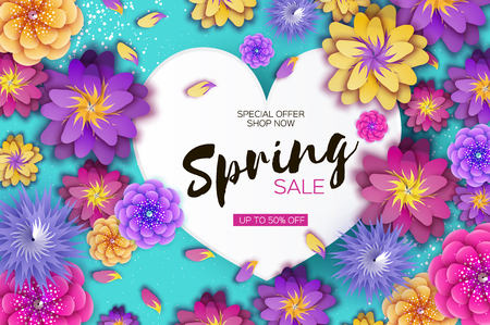 Bright Origami Spring Sale Flowers Banner. Paper cut Exotic Tropical Floral Greetings card. Spring blossom. Love Heart frame. Happy Womens Day. 8 March. Text. Seasonal holiday on blue. Trendy decor.