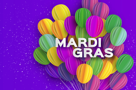 Happy Mardi Gras in paper cut style. Origami Carnival background with ballon. Colorful decoration for party, celebration, banner, card, gift. Bunch baloon. Seasonal holiday.