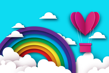Heart shape Pink hot air balloon flying. Love in paper cut style. Origami Valentine day. Romantic Holidays. 14 February. Be my valentine. Blue sky with origami clouds and rainbow. Illustration