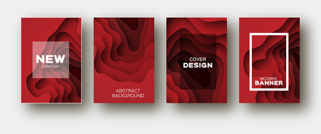 Red Paper Cut Wave Shapes. Layered curve Origami design for business presentations, flyers, posters. Set of 4 vertical banners. 3D abstract map carving. Text. Frame. Illustration