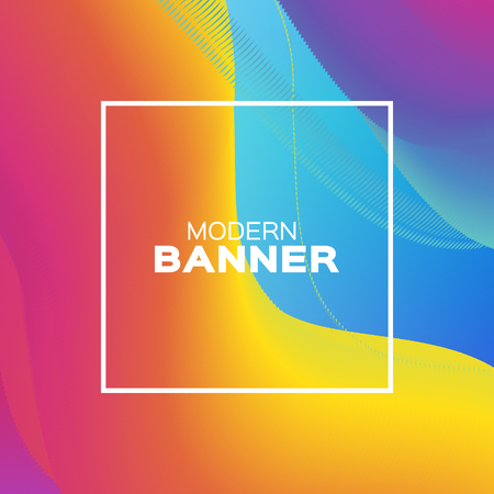 Liquid Poster. Bright Colorful Wave Smoke Shapes with Square frame. Space for text. Abstract Colorful Dynamic Effect on blue . Modern Template Banner. Vector design illus