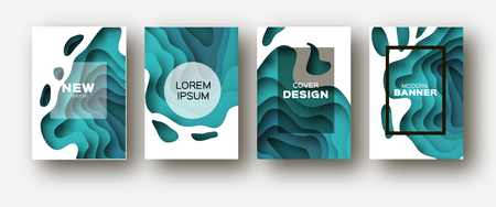 Blue Paper Cut Wave Shapes. Layered curve Origami design for business presentations, flyers, posters. Set of 4 vertical banners. 3D abstract map carving. Text. Frame. Vector