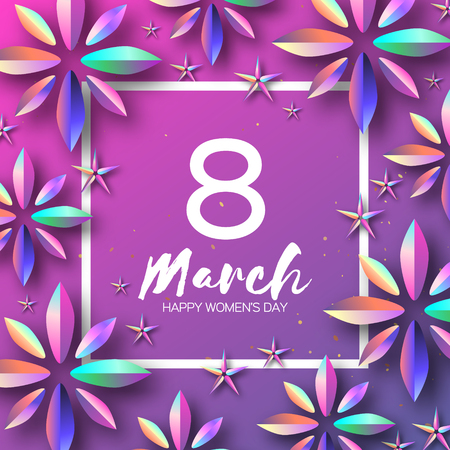 Bright Violet Holographic Flowers. Happy Womens Day. International 8 March. Mothers Day. Modern Paper cut Futuristic Floral Greetings card. Spring blossom decor on pink. Square frame. Text. Holidays. Ilustração