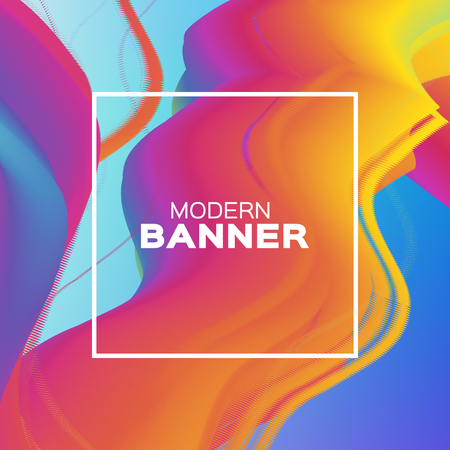 Liquid Wave Poster. Colorful Smoke Shapes with Square frame. Space for text. Abstract Colorful Dynamic Effect on blue. Modern Template Banner. Fluid.