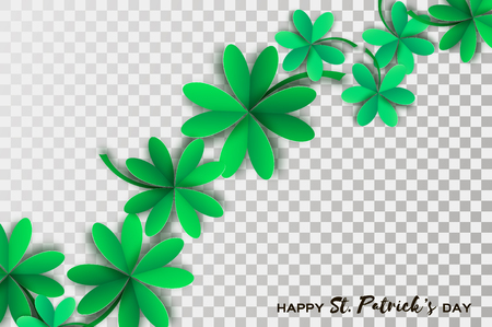 Happy St. Patricks Day Greetings Card. Four and Three Leaf Clover in paper cut style. Space for Text. Floral green background. Nature. Seasonal holidays Illustration