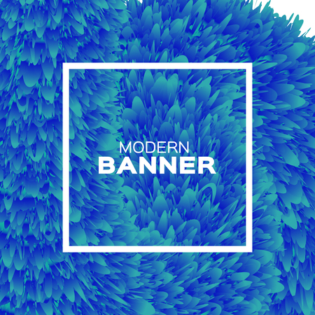Extreme Liquid Wave magnification. Poster. Blue Hair Fur Shapes under the microscope with Square frame. Bacteria, Space for text. Colorful Dynamic Effect on white. Modern Template Banner.