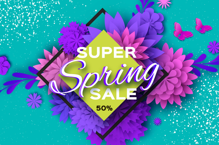 Origami violet Super Spring Sale Flowers. Butterfly. Paper cut Floral card.Happy Womens Day. 8 March. Text. Seasonal holiday on blue. Rhombus frame. Spring Sale Poster, Flyer, voucher discount. Ilustrace