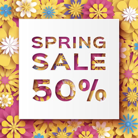 Origami Yellow Spring Sale Flowers Banner. Paper cut Floral card. Spring blossom. Happy Womens Day. 8 March. Text. Seasonal holiday.Trendy decor. Spring Sale Poster, Flyer, voucher discount. Ilustrace