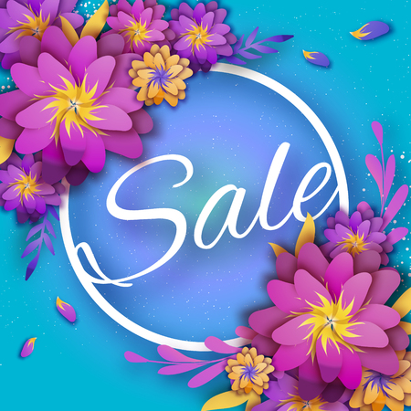 Origami Pink Spring Sale Flowers Banner. Paper cut Floral card. Spring blossom. Happy Womens Day. 8 March. Text. Seasonal holiday on blue. Trendy decor. Spring Sale Poster, Flyer, voucher discount.