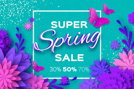 Origami violet  Flowers and butterflies with Super Spring Sale text. Spring Sale Poster, Flyer, voucher discount.
