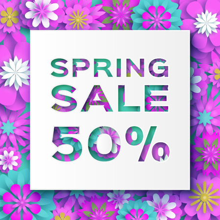 Origami Pink Spring Sale Flowers Banner. Paper cut Floral card. Spring blossom. Happy Womens Day. 8 March. Text. Seasonal holiday.Trendy decor. Spring Sale Poster, Flyer, voucher discount. Vector
