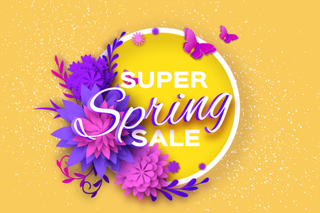 Origami violet Super Spring Sale Flowers Banner with Butterfly. Ilustrace
