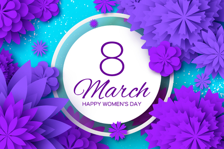 Violet flowers with text 8 march happy women's day in white circle, vector illustration on blue background.