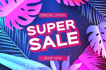 Tropical Super Sale Banner. Palm leaves, plants. Exotic Paper cut art. Hawaiian. Text. 矢量图像