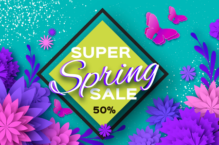 Origami violet Super Spring Sale Flowers. Butterfly. Paper cut Floral card.Happy Womens Day. 8 March. Text. Seasonal holiday on blue. Rhombus frame. Spring Sale Poster, Flyer, voucher discount. Vector