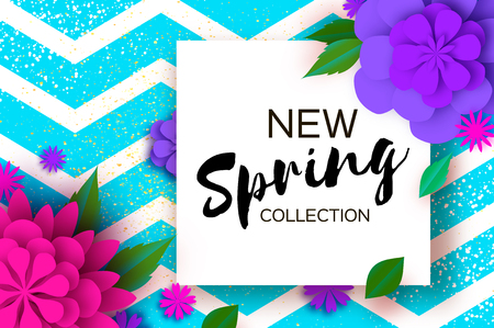New Spring collection. Paper Cut Flower. 8 March. Womens Day Greetings card. Origami Floral bouquet. Square frame. Text. Spring Seasonal Holidays on zigzag blue. Happy Mothers Day. Vector
