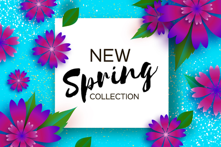 New Spring collection. Paper Cut Flower. 8 March. Womens Day greetings card. Origami floral bouquet. Square frame. Text. Spring seasonal holidays on blue background.