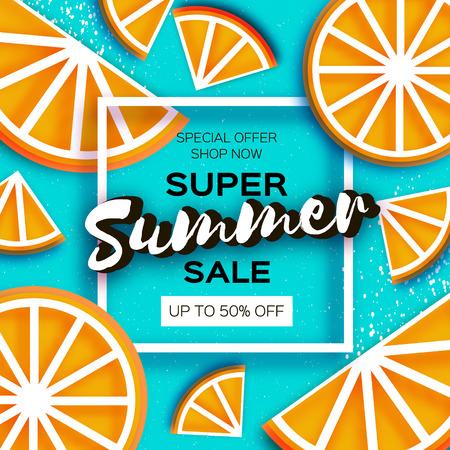 Super summer sale poster with orange elements template vector illustration