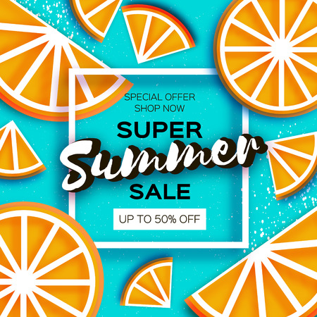 Super summer sale poster with orange elements template vector illustration