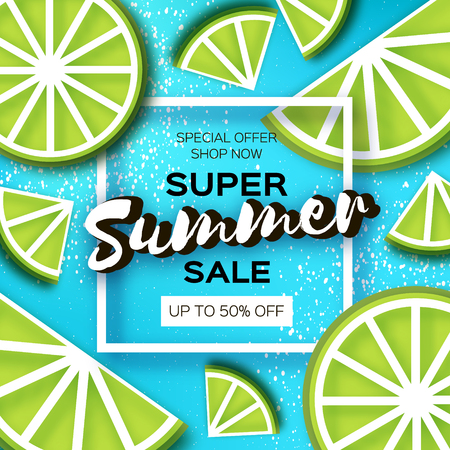 Lime Super Summer Sale Banner in paper cut style. Origami juicy ripe lime citrus slices. Healthy food on blue. Square frame for text. Summertime.