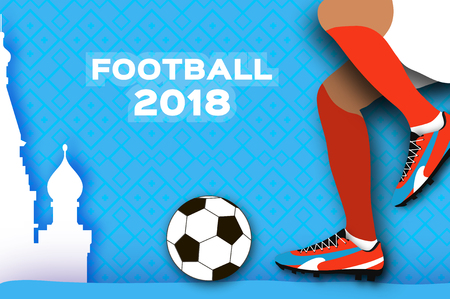 Football 2018 in paper cut style. Origami world championship on blue. Football cup. Soccer boots. Sport. Russian architecture. Vector.