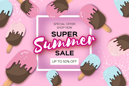 Super Summer Sale with ice creams in paper cut style.