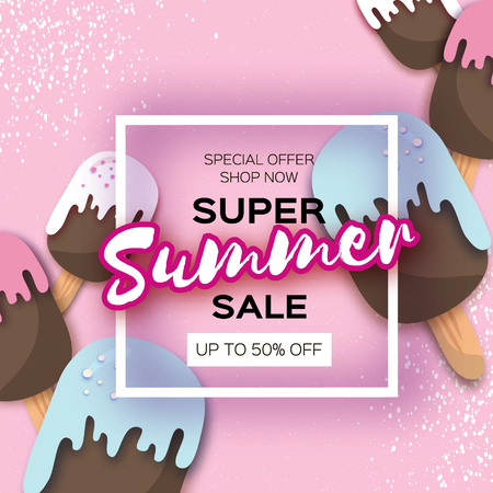 Super Summer Sale text in white frame with ice creams in paper cut style in pink background.