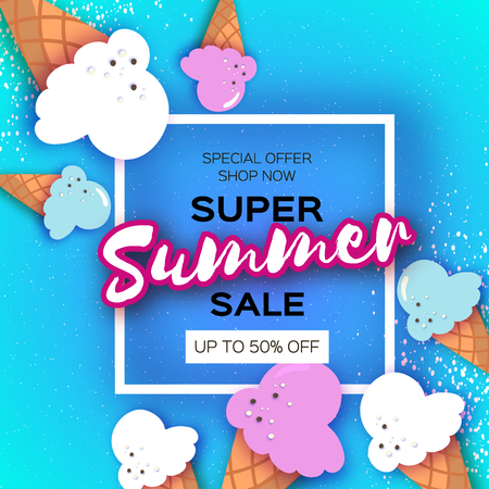 Super Summer Sale with ice cream in cones in paper cut style on blue background.