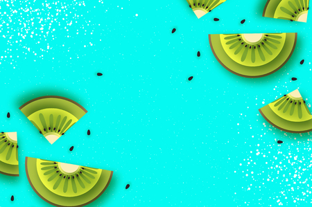 Slice of kiwi.Top view. Kiwi and Starfruit Super Summer in paper cut style. Origami juicy ripe green slices. Healthy food on blue. Summertime.